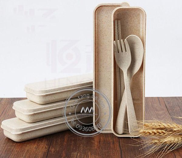 Bộ thìa dĩa lúa mạch Levant quà tặng thân thiện môi trường