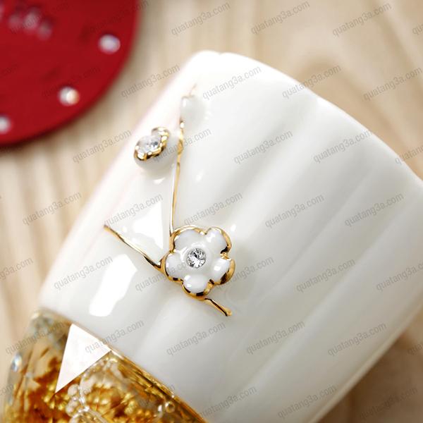Cốc uống trà hoa mai mạ vàng đính đá Swarovski kèm nắp và bộ lọc trà