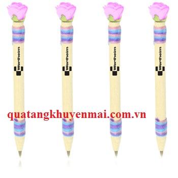 Bút bi hoa hồng vỏ gỗ