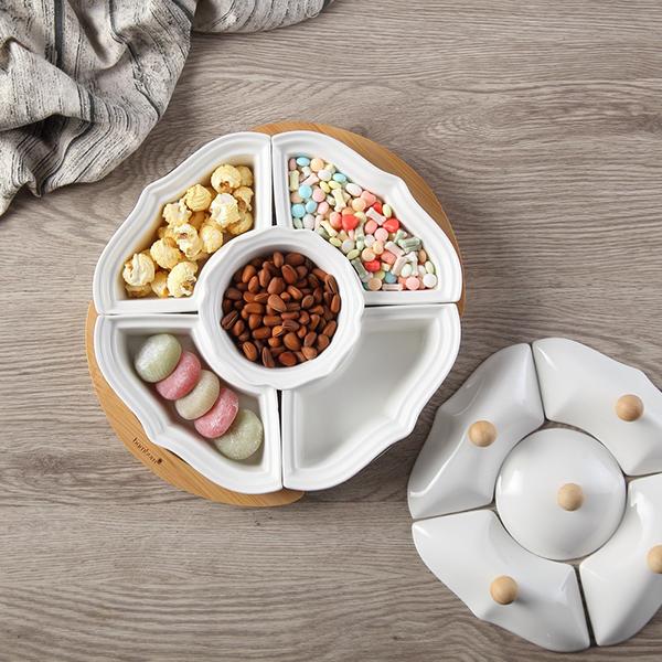 Khay đựng bánh mứt kẹo sứ Tết  2019 hình Bông hoa