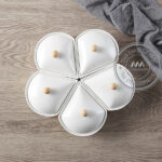 Khay đựng bánh mứt kẹo sứ Tết hình Hoa 5 cánh