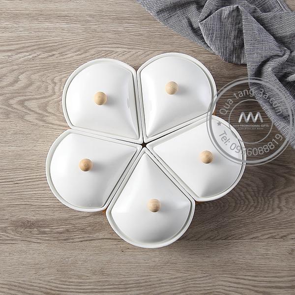 Khay đựng bánh mứt kẹo sứ Tết 2019 hình Hoa 5 cánh