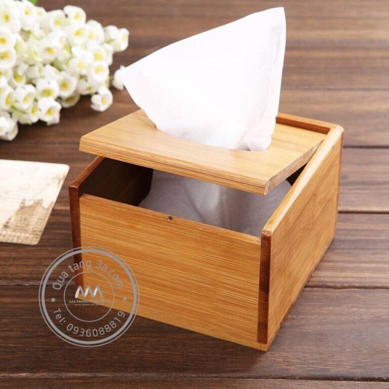Quà tặng gia dụng Hộp gỗ đựng giấy ăn in logo