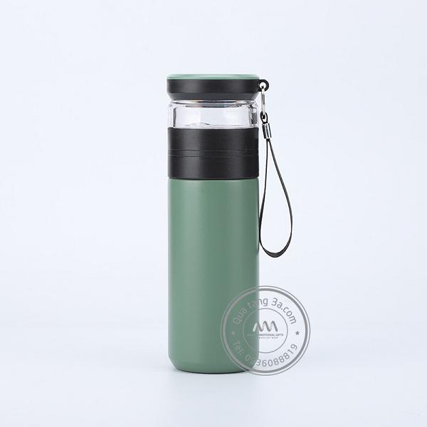 Bình nước inox nắp thủy tinh kèm lọc trà - Bình nước quà tặng độc đáo
