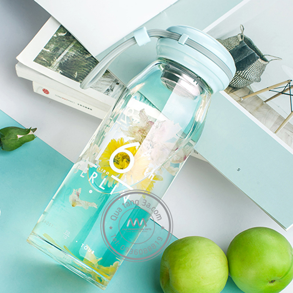 Bình nước thủy tinh kèm bộ cọ rửa – bình nước in logo quà tặng khách hàng