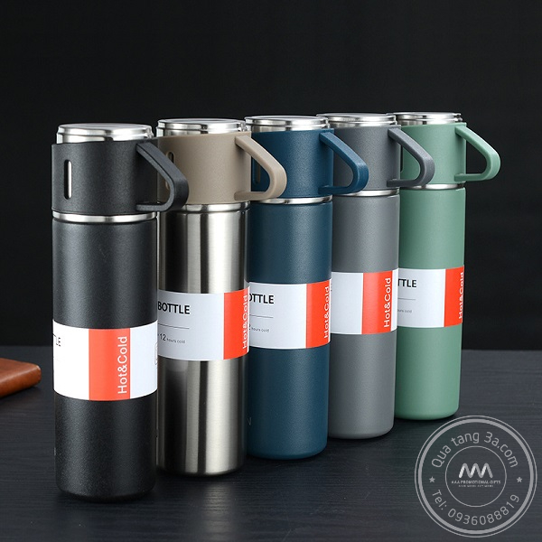 Bình giữ nhiệt có hai cốc đi kèm - Gift set in logo sang trọng