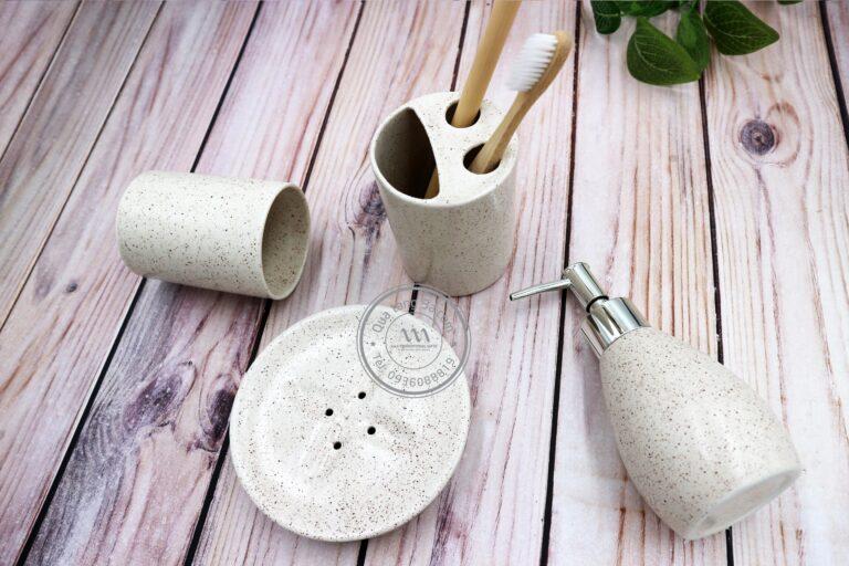 Bộ dụng cụ sứ nhà tắm | In ấn logo thương hiệu theo yêu cầu